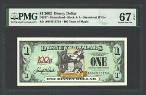 Disney Dollar 1 $  2002 DIS77 Steamboat Willie  Block A-A Uncirculated Grade 67