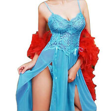 New Women Sexy Lingerie Lace Long Underwear Sleepwear Dress+G-string Light Blue