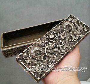 Qing dynasty Handwork Miao silver dragon statue Bank money archaic jewelry Box
