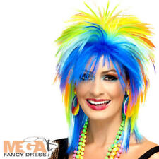 80s Rainbow Punk Wig Ladies Fancy Dress Multicoloured Mullet Costume Accessory