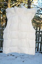 Girls Arizona Jeans Co. White Puffer Vest w/ Faux Fur Collared Hood Size Large