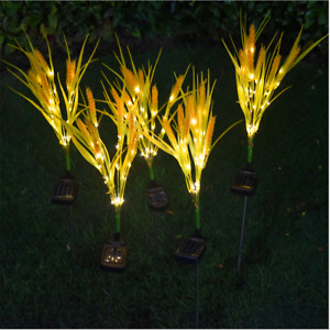 1/2pcs Solar Power Wheat Flower LED Lights Garden Stake Lamp Yard Outdoor Decor