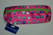 PENCIL CASE LOTS of OWLS DEEP PINK CASE with LIME GREEN ZIP  WHITE TAB School