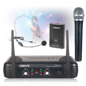 Vonyx 2 Channel Dual VHF Wireless Headset Handheld Microphone Radio PA Mic Set