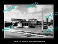 OLD LARGE HISTORIC PHOTO OF BEXLEY NSW, AMPOL OIL Co SERVICE STATION c1950