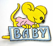 BABY BOY MOUSE KANGAROO   Embroidered Iron Sew On Cloth Patch Badge  APPLIQUE