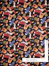 Sew Thread Spool Button Toss Black Cotton Fabric Wilmington Sew Curious - Yard