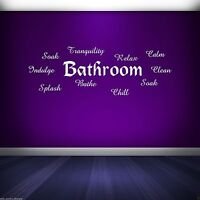 Bathroom Words Wall Art Sticker Quote Decal Mural Stencil Vinyl Transfer WSDWQ1