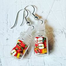 Unique APPLE SLICES JAR EARRINGS handmade GLASS food FRUIT miniature CUTE sweet