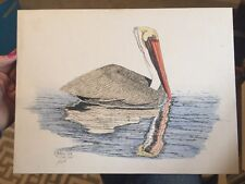 Hand Colored Pelican Art Print By Patsy Cox 1/100 Signed