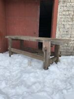 1850s Country Industrial Pegged Work Bench Kitchen Island TV Console Primitive