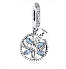 Family Tree Heritage Pendant Charm Blue Stone Dangle Genuine 925 Sterling Silver