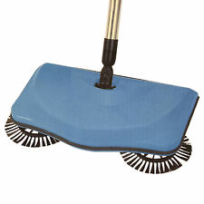 AMOS Super Sweeper Hard Floor Surface Push Powered Spin Dust Mess Cleaner Brush