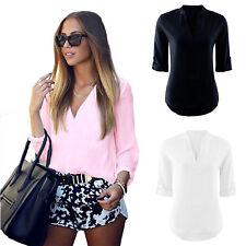 Mode Damen V-Ausschnitt Chiffon 3/4 arm Blusen Sommer Shirt Hemd Oberteil Top