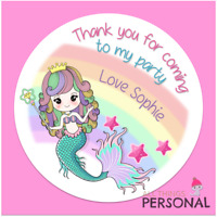 Personalised Mermaid Birthday Stickers Thank You for Coming Party Bag Sweet Cone