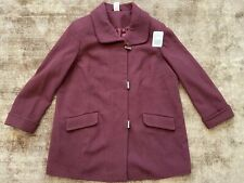 Burgundy Red Woolen & Kashmir Coat Jacket Plus Size 24 NEW