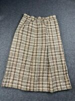 VTG UNBRANDED WOMEN SIZE 12 WOOL BLEND PLAID FLANNEL SKIRT UNION MADE EUC