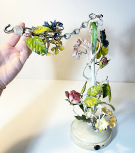 Vintage ITALY TOLE Floral Painted METAL Hanging Chandelier Fixture w/ Hook