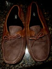 MENS UGG BROWN LEATHER FLEECE  LINED DRIVING MOCCASINS SHOES 10 M