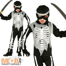 Zombie Ninja Skeleton Boys Fancy Dress Samuari Warrior Kids Halloween Costume
