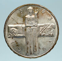 1963 B Switzerland RED CROSS Nurse & Patient 5 Francs Silver Swiss Coin i83251