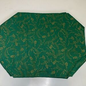 Christmas Placemat Set of 12 Color Green Gold Holly Print Holiday Festive