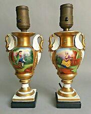 """Antique 7"""" Tall Old Paris Pair Lamps Empire Style Porcelain Urn Swans Gilt"""