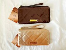 Joy & Iman Gold Metallic Patent Faux Leather Quilted Wristlet / Clutch Handbag