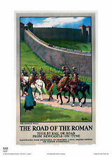 NORTHUMBERLAND ROMAN VINTAGE ADVERTISING RAILWAY TRAVEL REPRO POSTER ART