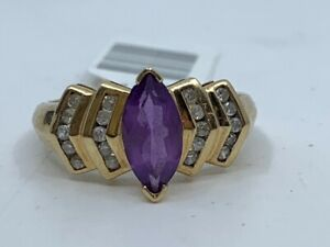 10KYG 2/5 CTW Marquise Synthetic Amethyst & Round Diamond Ring (RO1037370)