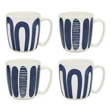 Ecology Maya Porcelain 4 Piece Mug Set 300ml Navy Blue Brand New