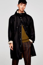 Zara Faux Fur Lined Oversized Hooded Coat Parka Black Medium NWT