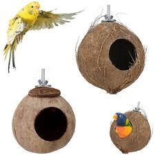 Natural Coconut Shell Pet Bird Nest Hut Cage Feeder Parrot Parakeet Toy House
