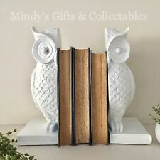 25cm Tall Set of 2 White Owl Book Ends Bookends Ornament