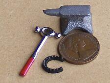 1:12 Scala Metallo Argento Anvil Palla Pein Martello & Ferro di Cavallo in miniatura casa delle bambole