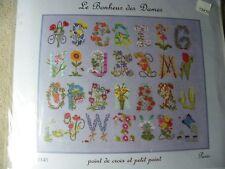 """Kit Point de croix """" ABECEDAIRE FLEURI """" , cross stitch"""
