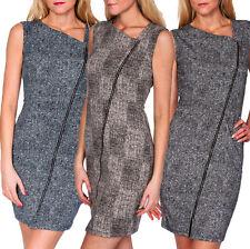 Damen Etui Kleid Etuikleid Minikleid Reißverschluss Business Büro Mode S 34 36
