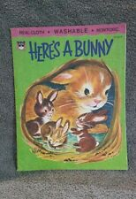 1970 Here's a Bunny Real Cloth Wipes Clean Baby Book by Whitman Vintage NICE