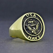 Y118 925K STERLING SILVER USA NAVY RING ANTIQUE GOLD BY PRUVA JEWELRY