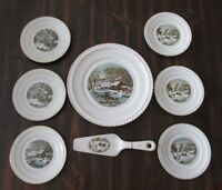 Harkerware Currier & Ives 8 Piece Set Dinner Plate, 6 Bread plates & pie Server