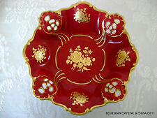 GERMAN WEIMAR RETICULATD FOOTED ROYAL RED CHINA PORCELAN FLORAL CANDY/FRUIT BOWL