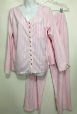 Eileen West Womens L Pink White Striped Fleece Flannel Pajamas Top Pants