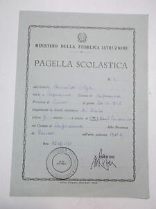 PAGELLA SCUOLA ELEMENTARE DI CAPRAUNA CUNEO 1960-61 10BIS-73