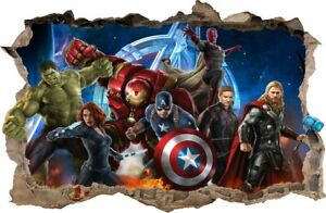 WALL STICKERS HOLE IN THE WALL 3D AVENGERS Hulk sticker to the room 76
