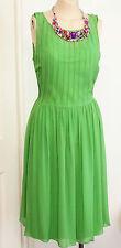 1990s Dress Green Silk Size 12 36-30-free Vintage M Howard Showers Ladies Girls