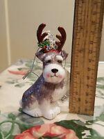 KURT S. ADLER Christmas Schnauzer With Antlers Glass Ornament Noble Gems NEW