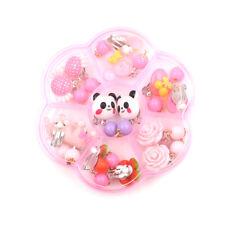 7Pairs Lovely Panada Flower Earrings Clip-On No Pierced Design For Kids Girls E&