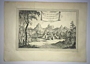 CHILE JUAN FERNANDEZ ISLAND 1750 NICOLAS BELLIN NICE ANTIQUE VIEW 18TH CENTURY