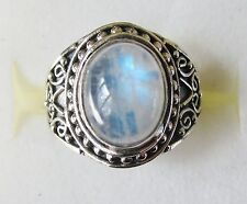 Rainbow Moonstone Artisan Designed Ring in 925 Sterling Silver size 7.25