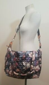 Mz Wallace Sutton Floral Print Quilted Nylon Crossbody  Shoulder Bag